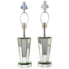 Modern Beveled Mirror and Chrome Lamps with Deco Finials