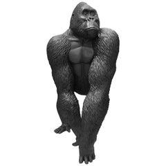 Modern Big Gorilla by Marcantonio, Black Painted Fiberglass Resin