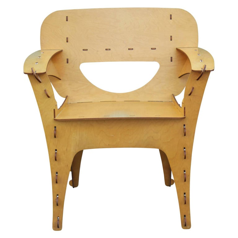 American Modern Birch Plywood Design Puzzle Lounge Chair by David Kawecki For Sale