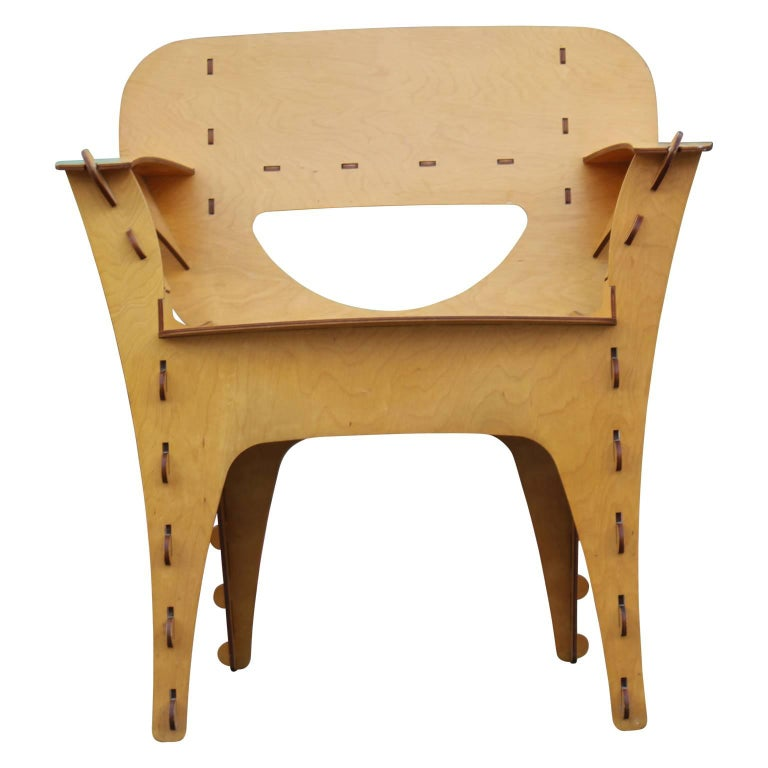 Modern Birch Plywood Design Puzzle Lounge Chair by David Kawecki In Excellent Condition For Sale In Houston, TX