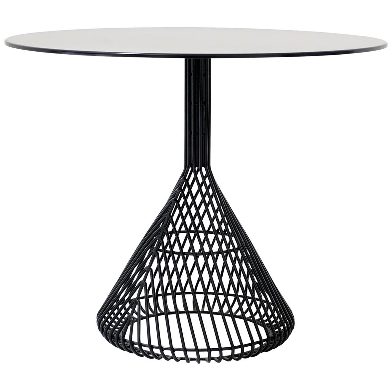Modern Bistro Table, Wire Dining Table by Bend Goods in Black with Metal Top