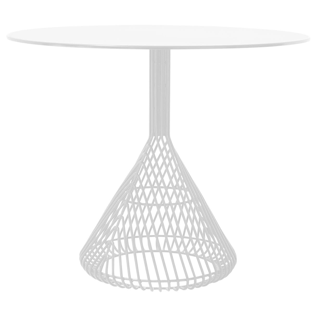 Modern Bistro Table, Wire Dining Table by Bend Goods in White with Metal Top