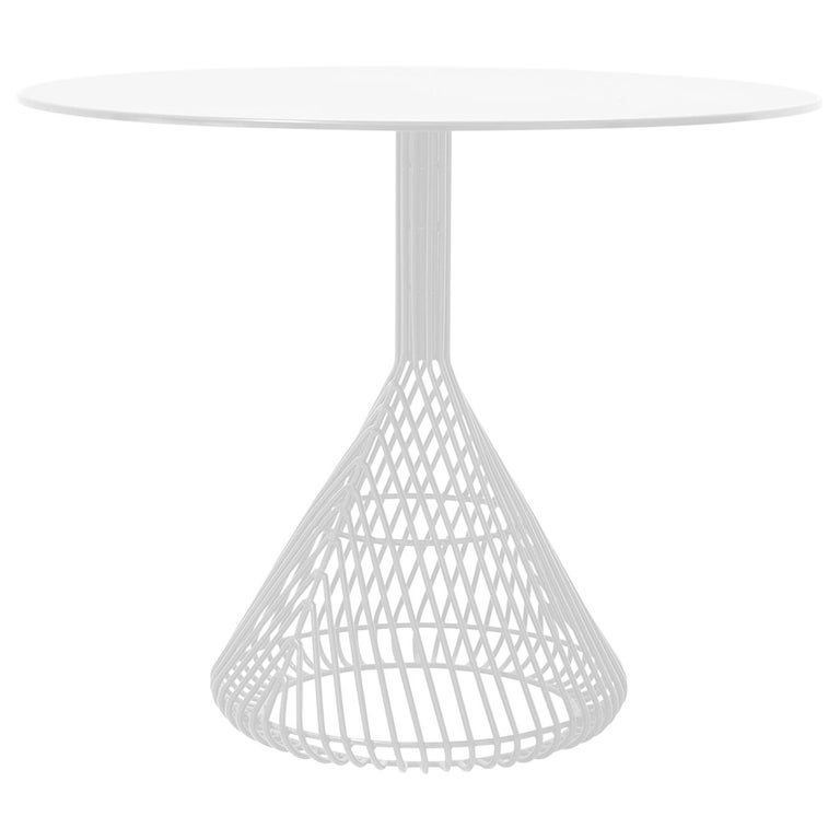 Modern Bistro Table, Wire Dining Table by Bend Goods in White with Metal Top For Sale