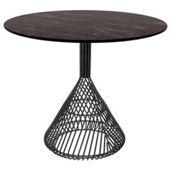 Modern Bistro Table, Wire Dining Table in Black with Black Marble Top