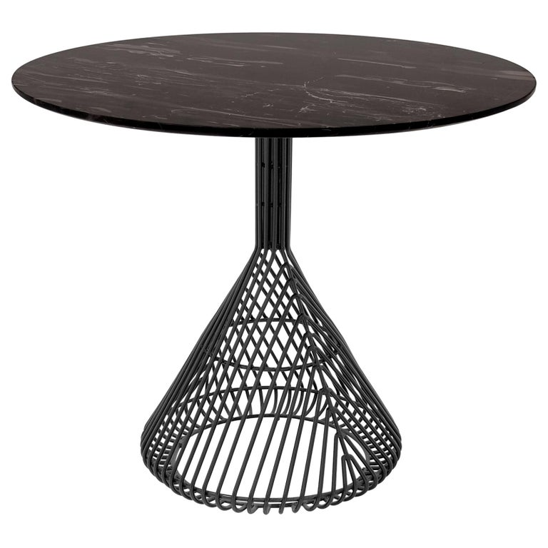 Modern Bistro Table, Wire Dining Table in Black with Black Marble Top For Sale
