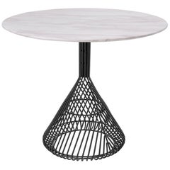 Modern Bistro Table, Wire Dining Table in Black with White Marble Top
