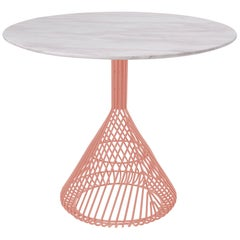 Modern Bistro Table, Wire Dining Table in Peachy Pink with White Marble Top