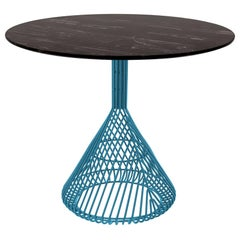 Modern Bistro Table, Wire Dining Table in Peacock Blue with Black Marble Top