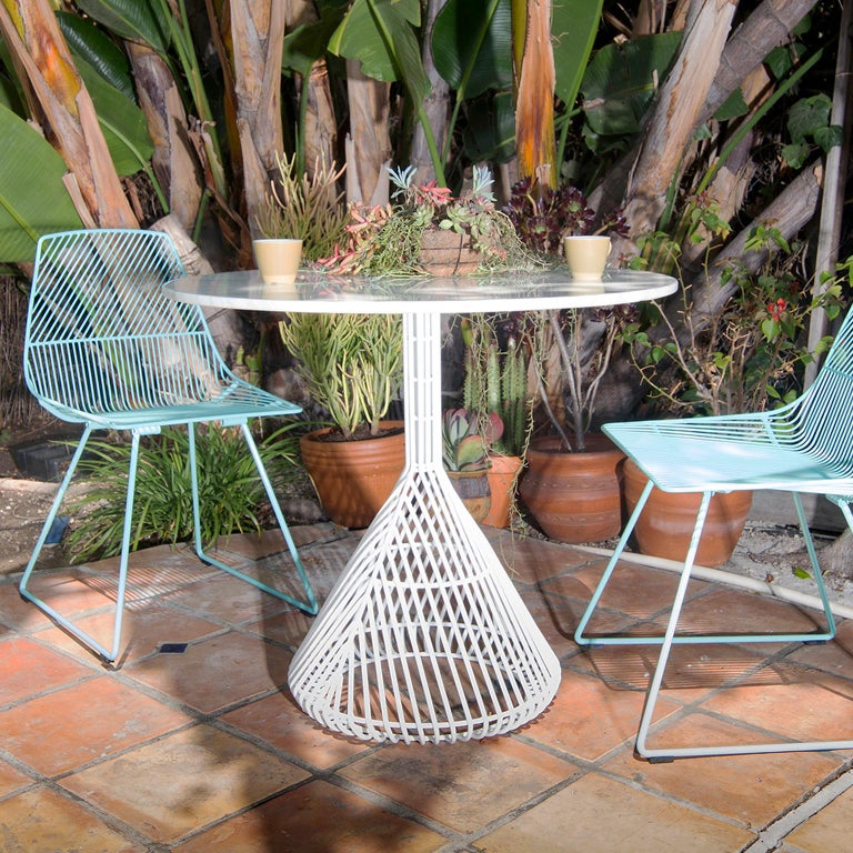 Unknown Modern Bistro Table, Wire Dining Table in Peacock Blue with Metal Top For Sale