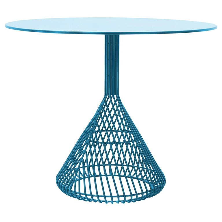 Modern Bistro Table, Wire Dining Table in Peacock Blue with Metal Top For Sale