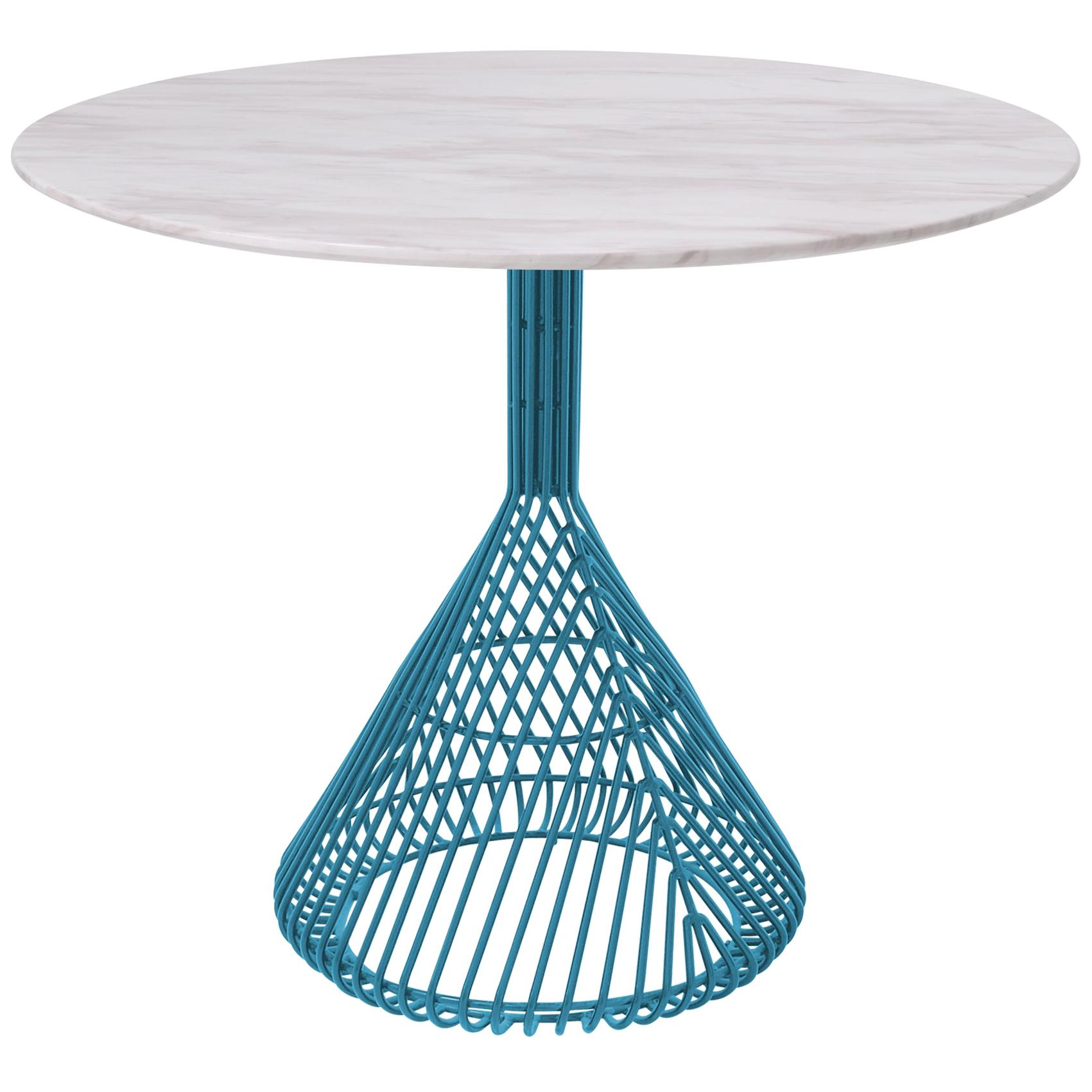 Modern Bistro Table, Wire Dining Table in Peacock Blue with White Marble Top