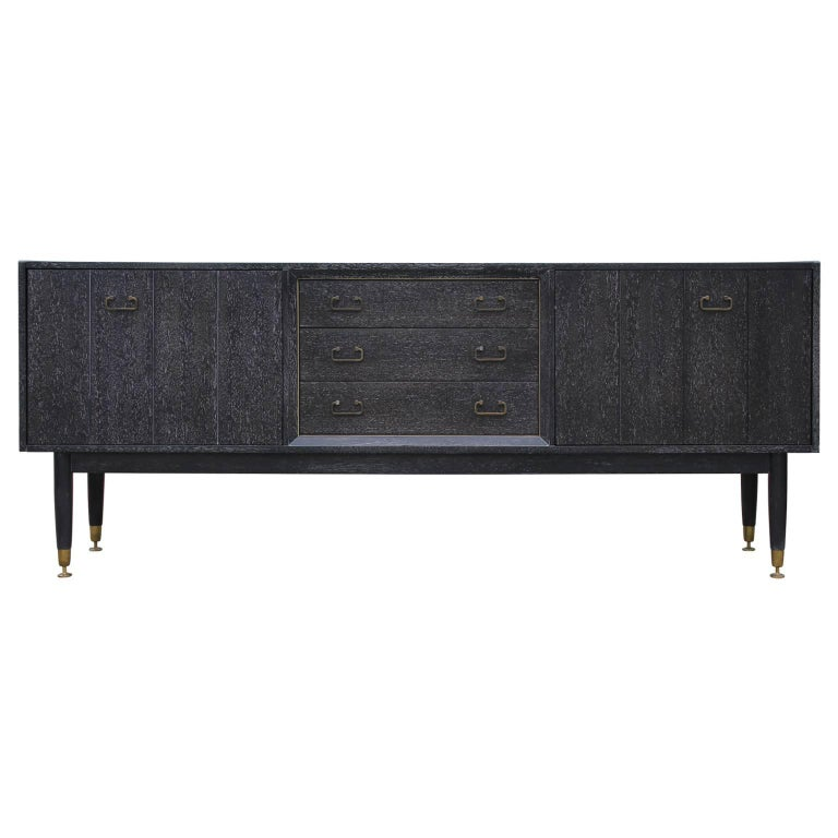 Modern Black & White Cerused Credenza with Brass Hardware in the Style of Baker