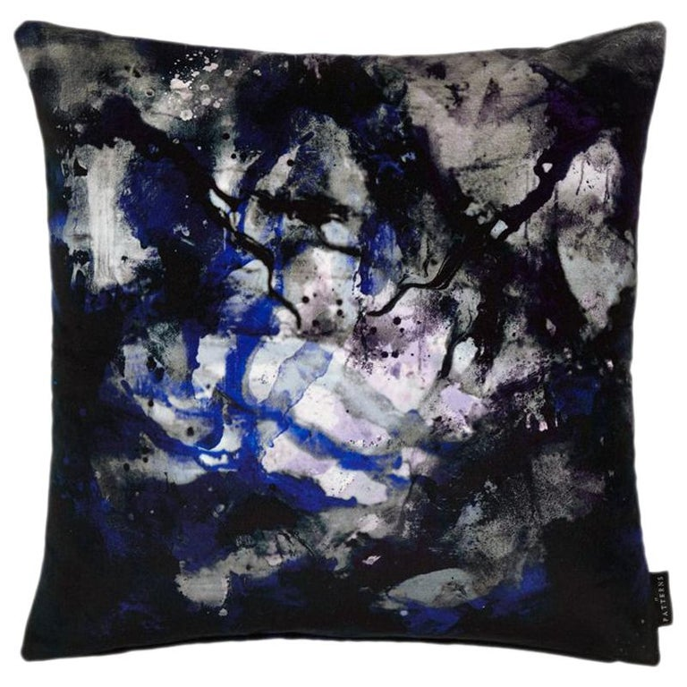 Modern Black and Blue Painterly Cotton Velvet Cushion by 17 Patterns For Sale