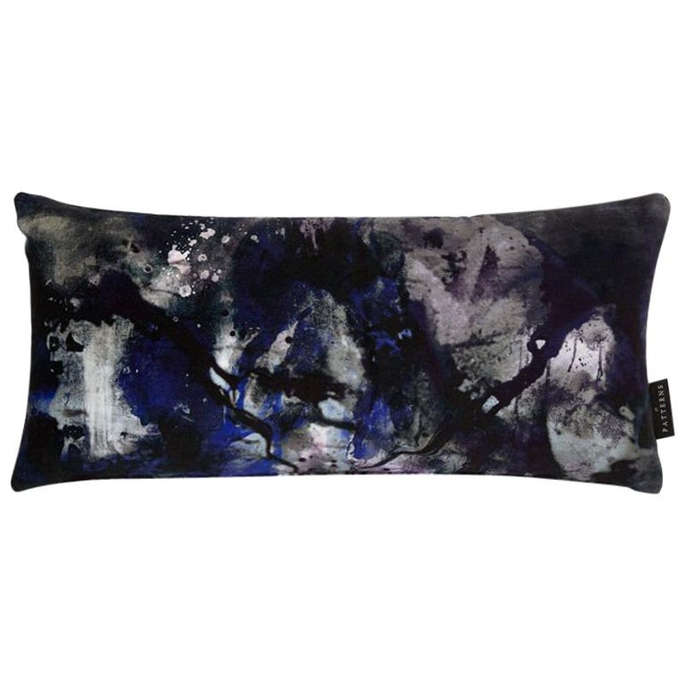 Modern Black and Blue Painterly Cotton Velvet Lumbar Cushion by 17 Patterns For Sale