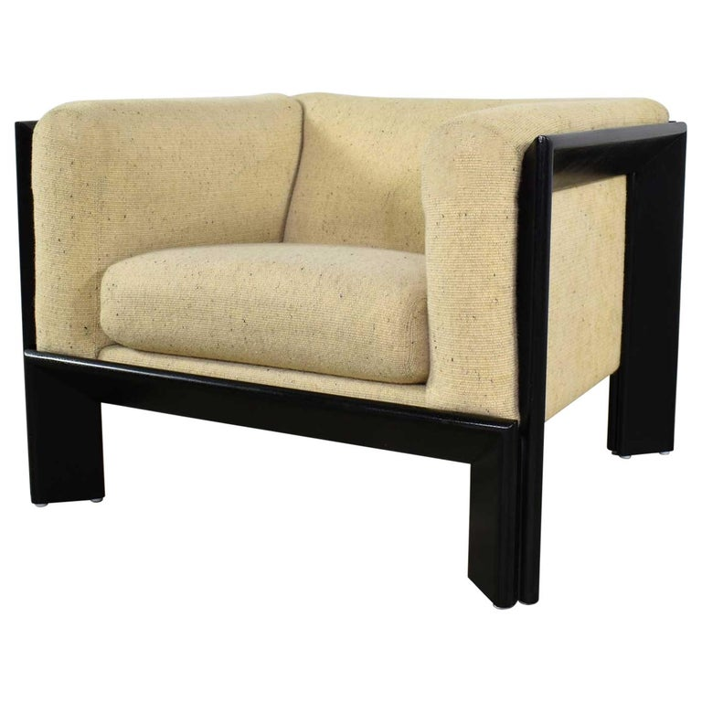 Modern Black and White Cube Club Lounge Chair Metropolitan Furniture Co.