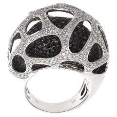 Modern Black and White Diamond Gold Cocktail Ring
