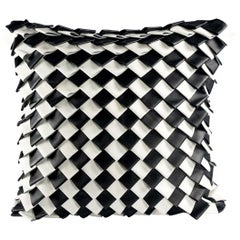 Modern Black and White Leather Pillow, Cushion by ACH Coll.