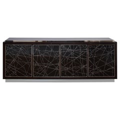 Modern Cabinet in Stained Oak Veneer with Black Artisan Panels, Customizable