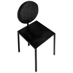 Modern Black Chair by Dario Cipelletti for NOBE Pendolo Pantelleria Steel Wood