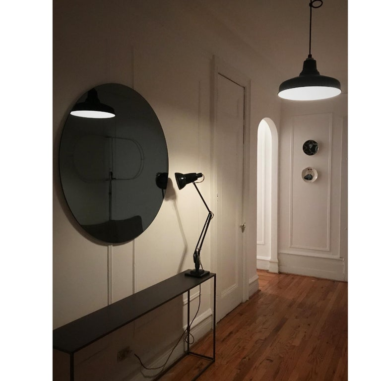Modern Black Colour Tinted Orbis™ Circular Shaped Mirror Frameless, Handcrafted  For Sale 2