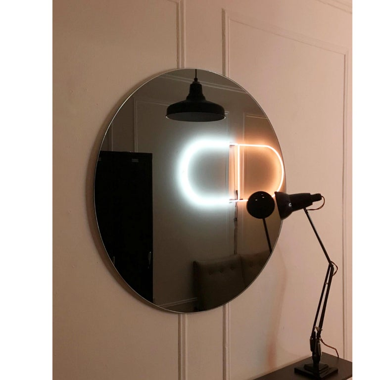Modern Black Colour Tinted Orbis™ Circular Shaped Mirror Frameless, Handcrafted  For Sale 3