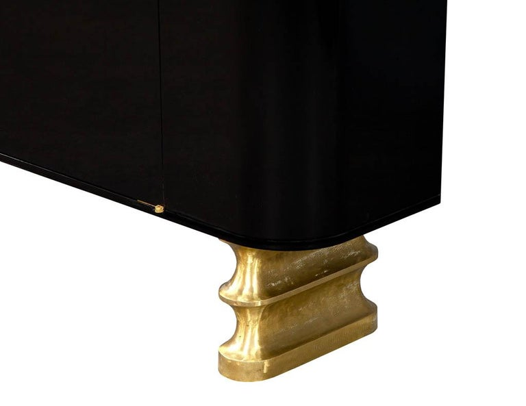 Modern Black Lacquer Brass Accented Credenza Buffet Sideboard For Sale 5