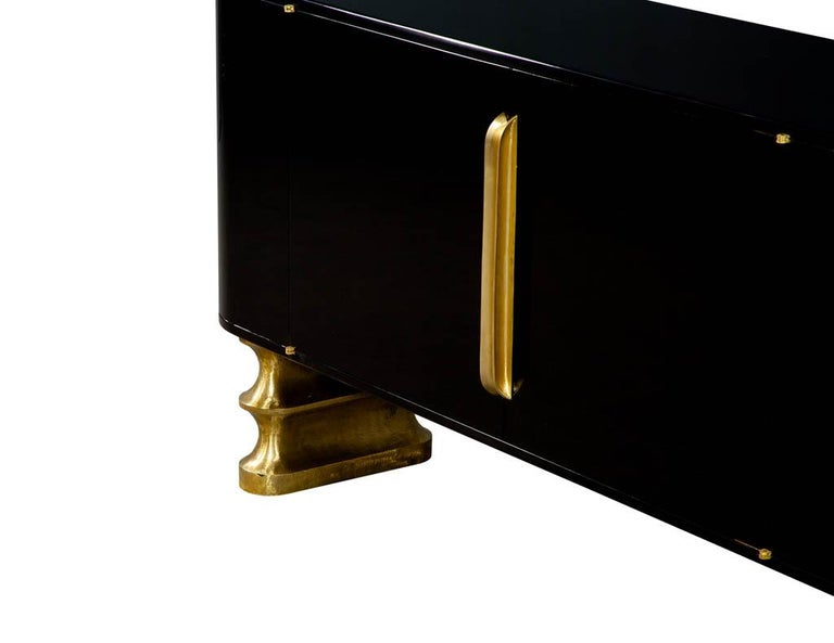 Modern Black Lacquer Brass Accented Credenza Buffet Sideboard For Sale 6