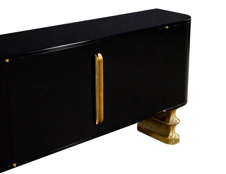 Metal Modern Black Lacquer Brass Accented Credenza Buffet Sideboard For Sale