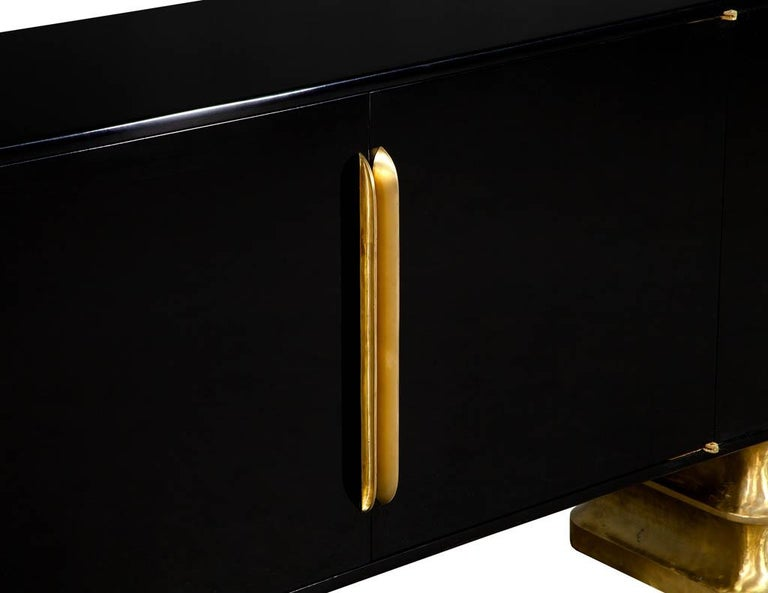 Modern Black Lacquer Brass Accented Credenza Buffet Sideboard For Sale 1