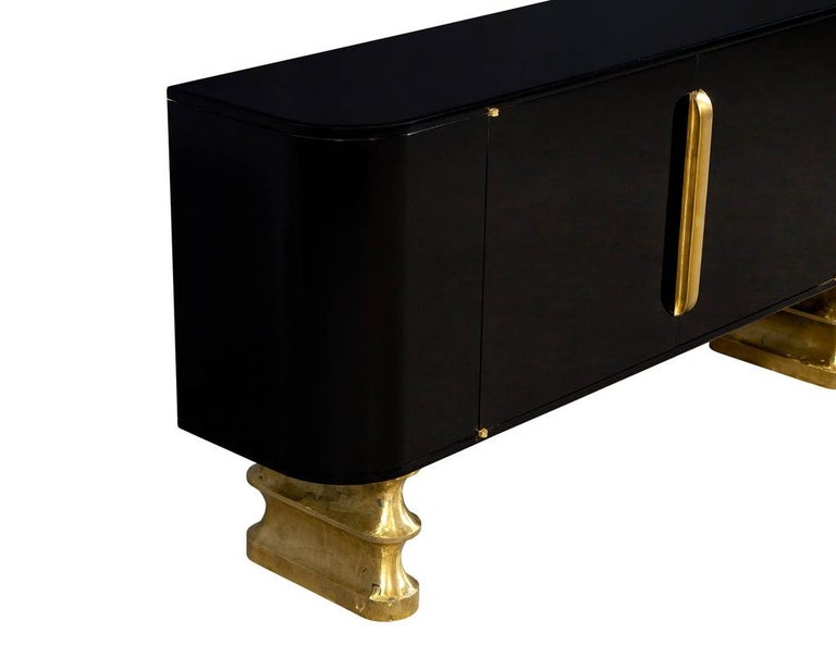 Modern Black Lacquer Brass Accented Credenza Buffet Sideboard For Sale 3