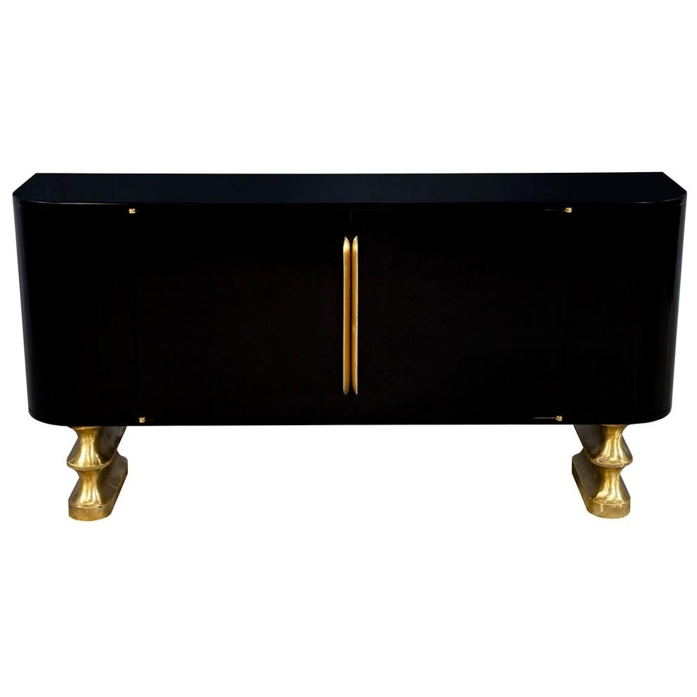 Modern Black Lacquer Brass Accented Credenza Buffet Sideboard
