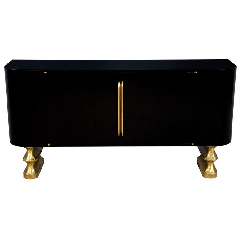 Modern Black Lacquer Brass Accented Credenza Buffet Sideboard For Sale