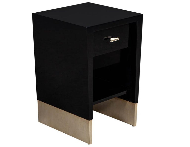 American Modern Black Lacquer End Table Rachmaninov by Jacques Garcia Baker For Sale
