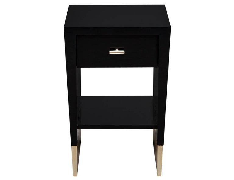 Modern Black Lacquer End Table Rachmaninov by Jacques Garcia Baker In New Condition For Sale In North York, ON