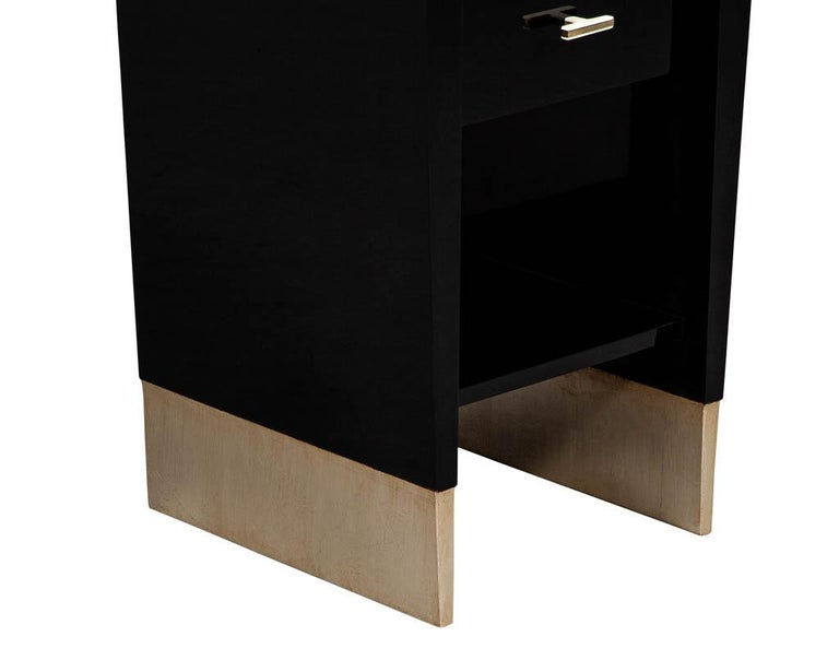 Modern Black Lacquer End Table Rachmaninov by Jacques Garcia Baker For Sale 1