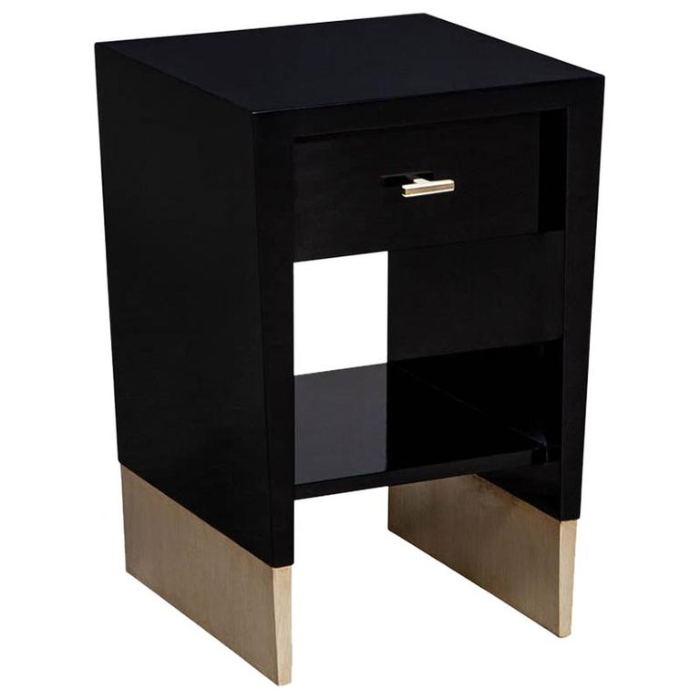 Modern Black Lacquer End Table Rachmaninov by Jacques Garcia Baker For Sale