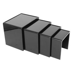Modern Black Lacquered Nesting Tables