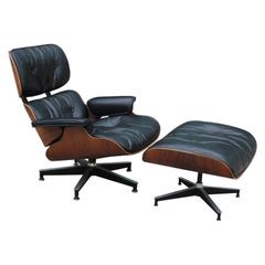 Modern Black Leather and Rosewood Herman Miller Eames Lounge Chair and Ottoman