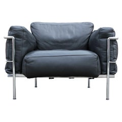 Modern Black Leather LC3 Corbusier Grand Modele Lounge Chair