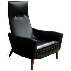 Modern Black Leather Restored Milo Baughman Thayer Coggin High-Back Recliner