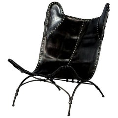 Modern Black Leather Saddle Chair by Ralph Lauren