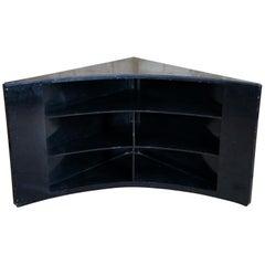 Modern Black Marble Corner TV Console Cabinet Bookshelf Boomerang Display