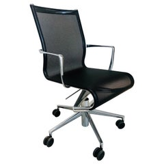 Modern Black Office Chair - Rolling Swivel with Arms by Alberto Meda - Alias