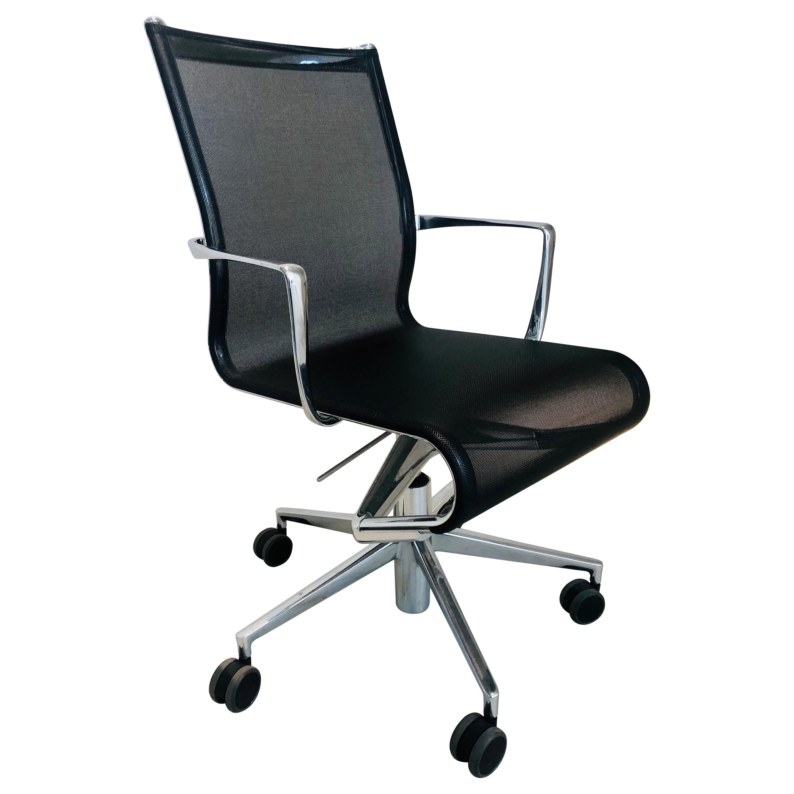 Modern Black Office Chair   Rolling Swivel With Arms By Alberto Meda   Alias