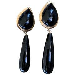 Modern Black Onyx 14 Karat Yellow Gold Dangle Lever Back Pierced Earrings
