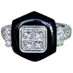 Modern Black Onyx and Diamond 18 Karat White Gold Ring - Size 6 1/2