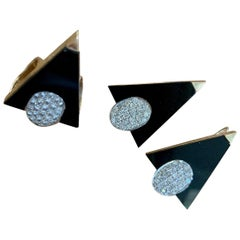 Modern Black Onyx and Diamond Earring and Pendant Set in White and Yellow Gold