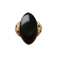Modern Black Onyx Diamond Gold Ring