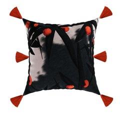 Modern Black Oranges Cushion, Luxury Dark Pattern Velvet Pillow Fringes Tassels
