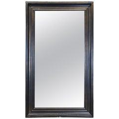 Modern Black Rectangular Floor Wall Dressing or Overmantel Mirror